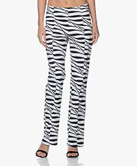 JapanTKY Nayu Zebra Print Travel Jersey Pants - Black/White