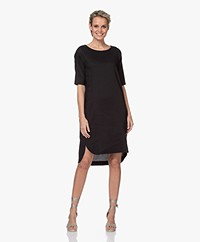 Woman by Earn Cara Stretch Linen Tunic Dress - Black