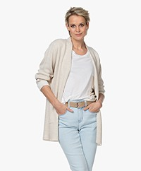 Sibin/Linnebjerg Joan Mid-length Two-tone Cardigan - Kit/Off-white