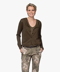 no man's land Short Lurex Cardigan - Dark Safari Green