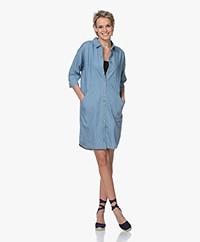 by-bar Bloeme Cropped Sleeve Shirt Dress - Light Denim