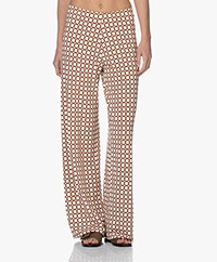 no man's land Wijde Viscose Jersey Print Broek - Red Earth