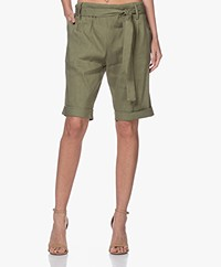 Woman by Earn Mabel Linen Bermuda Shorts - Green