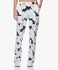 JapanTKY Nayu Flower Print Travel Jersey Pants - Blue Black/White