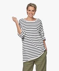 Woman By Earn Meike Pure Cotton Striped Sweater - Navy