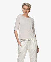no man's land Fine Knit Short Sleeve Sweater - Light Pearl Grey