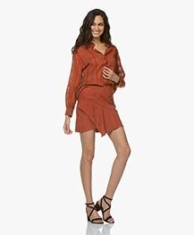 ba&sh Mala Suede Ruffle Mini Skirt - Terracotta