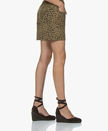ba&sh Lore Cotton Leopard Printed Shorts - Khaki