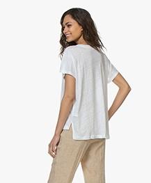 Drykorn Svana Linen V-neck T-shirt - White