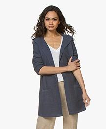 Repeat Half Long Open Hooded Cardigan - Denim Blue