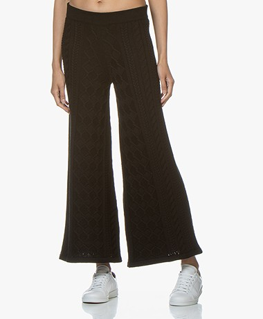 I Love Mr Mittens Cable Knitted Flared Pants - Black