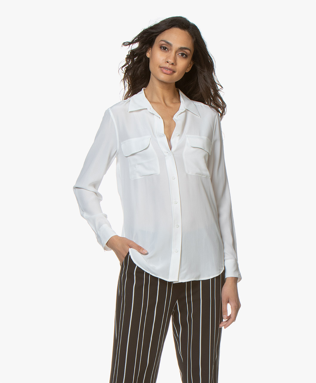 faa7457df88224 Equipment Slim Signature Washed-silk Shirt - Bright White - slim signature