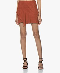 ba&sh Mala Suede Ruffle Mini Skirt - Terracotta