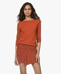 extreme cashmere N°92 Sweet Cashmere Cropped Sleeve Sweater - Dark Orange
