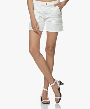 ba&sh Cselby Katoenen Denim Short - Off-white