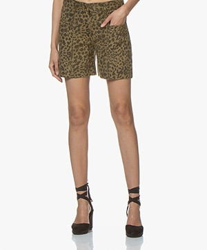 ba&sh Lore Cotton Leopard Printed Shorts - Khaki