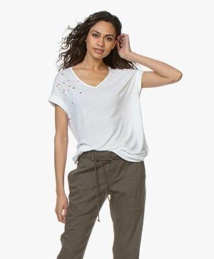 Repeat Linnenmix T-shirt met Borduursels - Wit