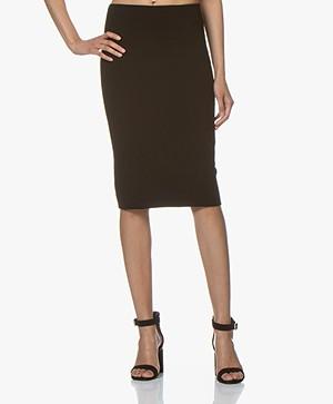 Drykorn Kama Viscose Blend Milano Jersey Skirt - Black