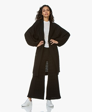 I Love Mr Mittens Long Lace Cardigan with Balloon Sleeves - Black