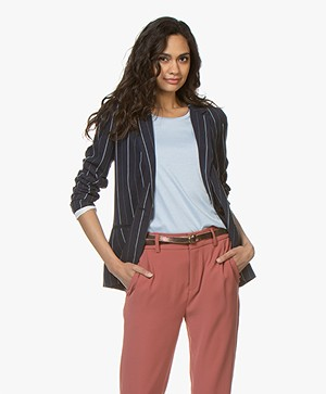 MKT Studio Viky Striped Linen Blend Blazer - Navy