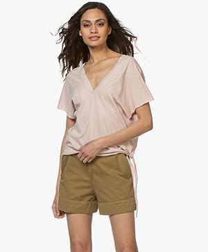 Pomandère Boxy T-Shirt met V-Hals - Oudroze
