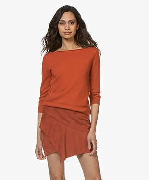 extreme cashmere N°92 Sweet Cropped Sleeve Sweater - Dark Orange