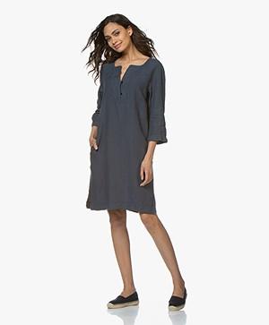 no man's land Pure Linen Tunic Dress - Vintage Blue