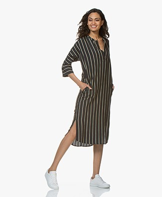 BY-BAR Mia Cruz Stripe Kaftan Dress - Phantom Black