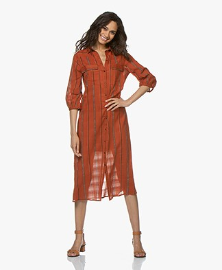 ba&sh Kinda Cotton Printed Shirt Dress - Caramel