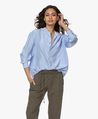 extreme cashmere N°67 Feel Habotai Silk Blouse - Nice Blue