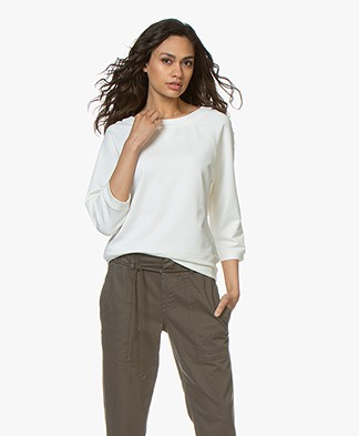 no man's land Sweater with Cropped Sleeves - Ivory