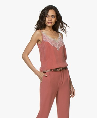Drykorn Letitia Cupro Camisole with Lace - Terracotta Pink