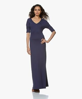 LaSalle Viscose Jersey Maxi-jurk - Donkerblauw