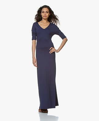 LaSalle Viscose Jersey Maxi Dress - Navy