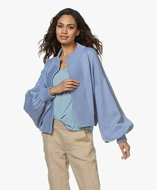 I Love Mr Mittens Bomber Cardigan with Balloon Sleeves - Denim