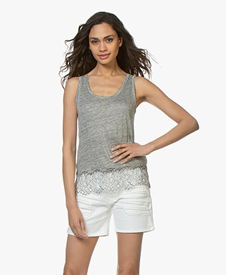 Majestic Filatures Linen Jersey Top with Lace - Granit
