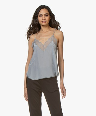 Zadig & Voltaire Christy Silk Camisole with Rhinestones - Plomb