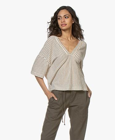 Forte Forte Striped Lurex T-Shirt - Albicocca