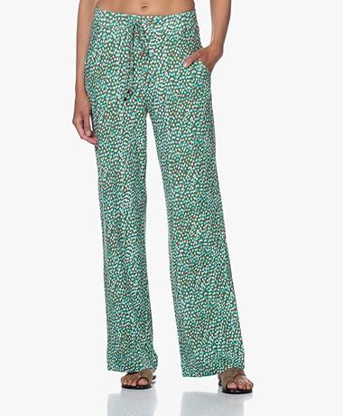 Kyra & Ko Krina Printed Jersey Pants - Army/Poolblue