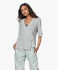 Filippa K Regan Short Sleeve Wrap Blouse - Green Fog