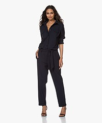 Woman By Earn Bri Tech Jersey Boiler Suit - Navy