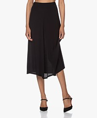 by-bar Mavis A-line Viscose Crepe Skirt - Black