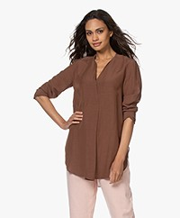 LaSalle Viscose Blend Tunic Blouse - Tabac