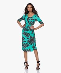 Kyra & Ko Yse Printed Jersey Wrap Dress - Poolblue
