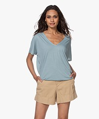 by-bar Donna Gestreept Drawstring T-shirt - Cloud