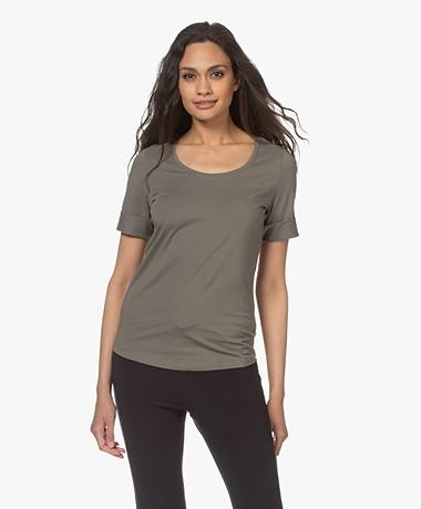 Repeat Katoenen T-shirt met Ronde Hals - Kaki