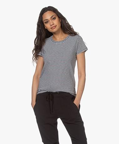 Rag & Bone Striped Pima Cotton T-shirt - Black/White