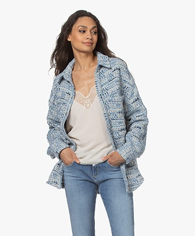 IRO Canelle Tweed Cotton Blend Jacket - Denim Blue