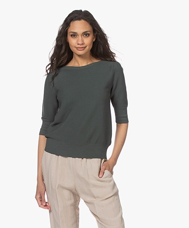 no man's land Cotton Sweater with Short Puff Sleeves - Eucalyptus