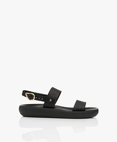 Ancient Greek Sandals Dinami Raffia Leren Sandalen - Zwart